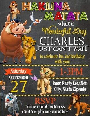 Lion King Baby Shower or Birthday Party Invitations Invites Personalized Custom Customized Baby Shower Invitations