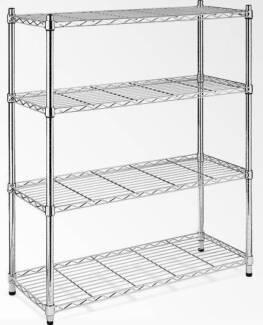 Modular Chrome Wire Storage Shelf 1500 x 350 x 1800 Steel Shelvin