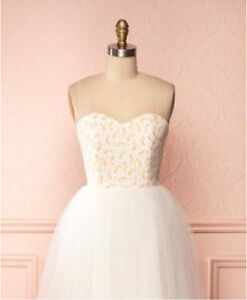 Brand New Floral/White Tulle Dress - Size S