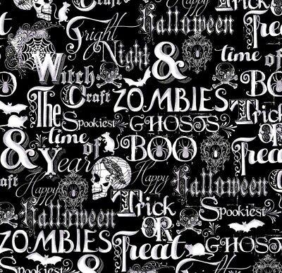 Halloween Fabric - Fright Night Spooky Words Skulls Black - Henry Glass YARD](Spooky Halloween Night)