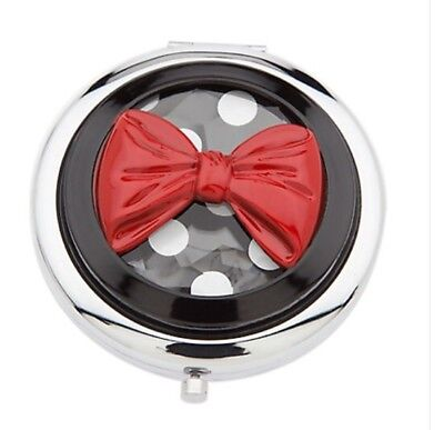 D23 MINNIE MOUSE SIGNATURE GLASS COMPACT MIRROR DISNEY Polka Dot Red Bow Gift