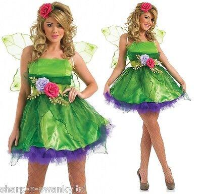 Damen Fee Nymphe Elfe Halloween Kostüm Kleid Outfit UK 8-26 - Übergröße Damen Elf Kostüm