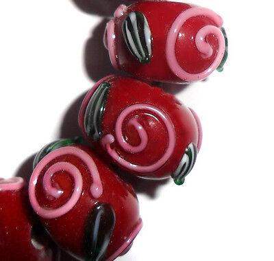 - Handmade Lampwork Glass Rondelle Beads Burgundy Red 14mm 4 Beads (#sp9)