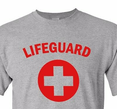 Lifeguard #2 T-shirt Red Gray White Tee Pool Staff Lifesaver Halloween Costume - Pool Halloween