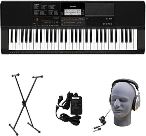 Casio CT-X700 61 Key Portable Keyboard Bundle w/Stand & Headphones