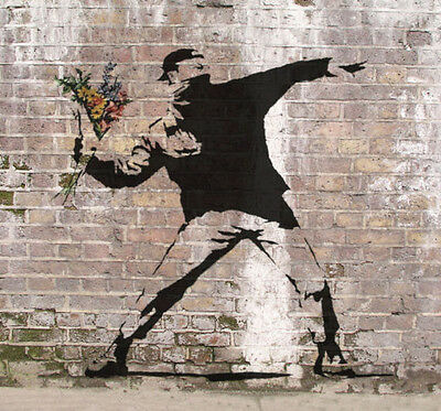 "Banksy-Love is a Riot Flower Thrower  -24""x24"" Canvas Print Urban Graffiti"