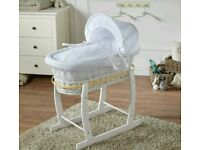 Kinder valley white Waffle with white Wicker moses basket. Free Rocking stand. White. Brand new