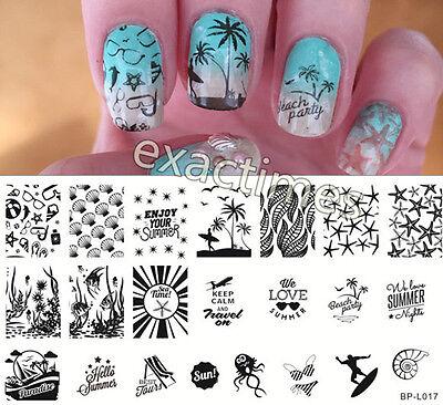Nail Art Stamping Plate Summer Beach Sea Image Template BP-L017 BORN PRETTY