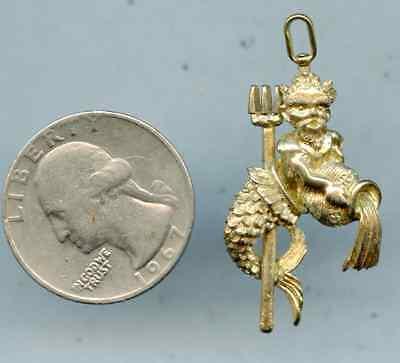 Vintage Gold Tone King Neptune Mermaid Man Merman Charm Pendant Pitch Fork PC56