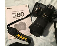 Nikon DSLR D80 with 2 lenses & a flash!