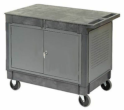 Work Station Mobile - Portable Cart - Locking Doors - Flat Worktop - 33h