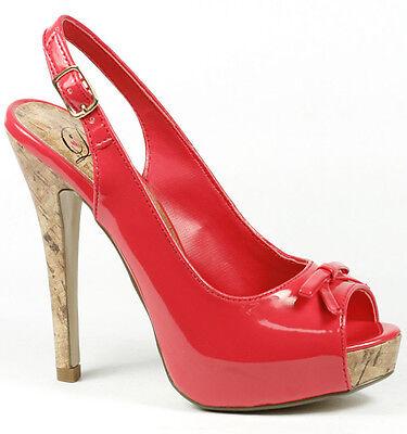 Salmon Pink Patent Cork High Heel Slingback Open Toe Platform Pump Delicious