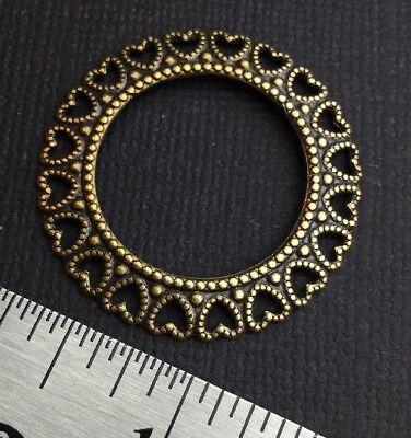 13873           2 Pc Brass Oxidized Filigree Heart Circle Jewelry Finding
