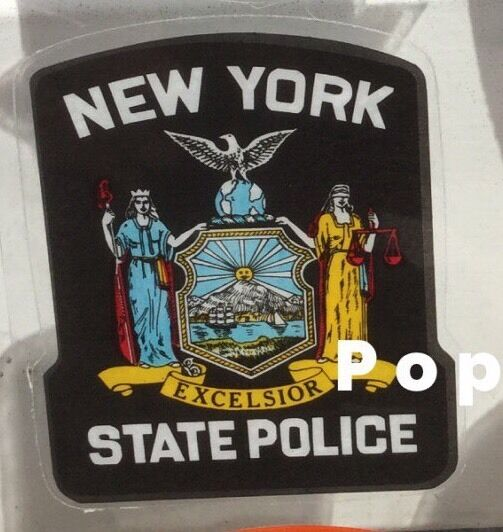 NY NYS NEW YORK STATE POLICE OFFICIAL In/Window FACES OUTSIDE Decal Sticker *O