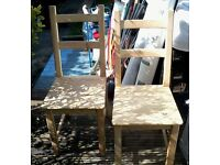 Dining Chairs x2 - In Need Of Slight Clean / Slight Sanding