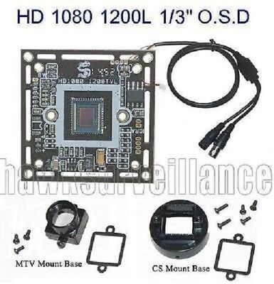 "HD 1080 1200TVL CCTV Color Camera Board SONY 1/3"" Inch D-WDR w/ OSD Menu (AO2)"