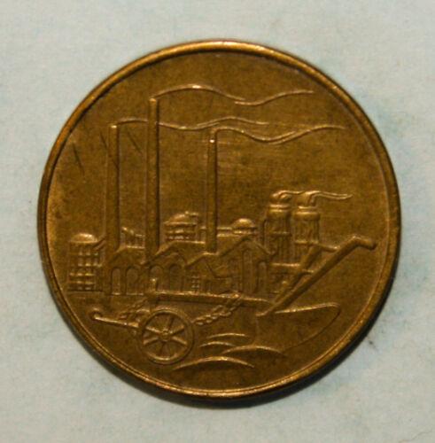 East Germany 50 Pfennig 1950-A Uncirculated Al-Br Coin - Tall Smokestacks *Key