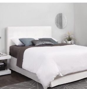 White leather twin bed frame