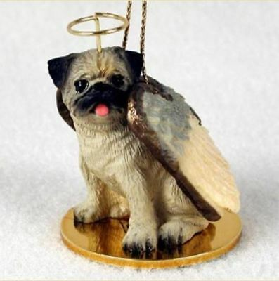 PUG (FAWN) ANGEL DOG CHRISTMAS ORNAMENT HOLIDAY  Figurine Statue Memorial Gift