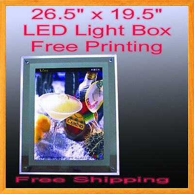 A2 Led Slim Crystal Frame Light Box 26.5 X 19.5 Free Graphic Printing Lightbox