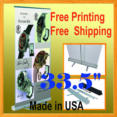 34 Retractable Banner Stand W Free Graphic Printing Roll Up Trade Show Display