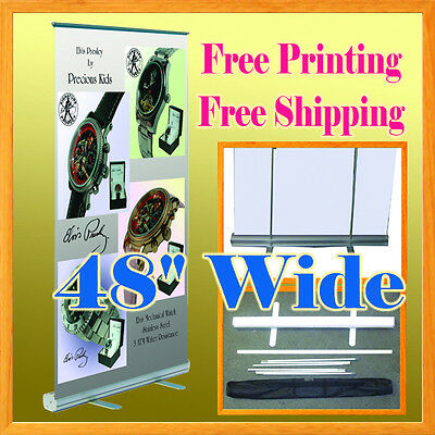 4 Wide Retractable Banner Stand Free Graphic Printing Roll Up Trade Show 80