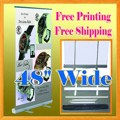 48 X 78 Retractable Roll Up Banner Stand Free Graphic Printing Trade Show 47