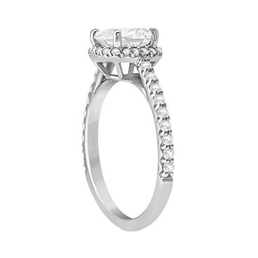 GIA Certified Diamond Engagement Ring 1.30 carat Cushion Shape 14K White Gold  1