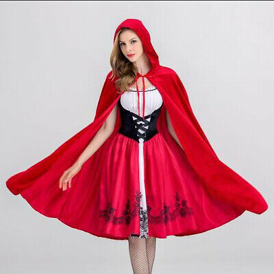 Adult Halloween Little Red Riding Hood Cosplay Costume Ladies Fairy Fancy