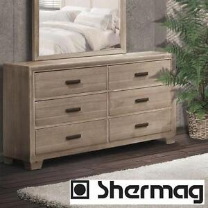 NEW* SHERMAG MONET 6 DRAWER DRESSER - 104972350 - DRIFTWOOD FINISH - BEDROOM FURNITURE DECOR DRESSERS DRAWERS CHEST C...