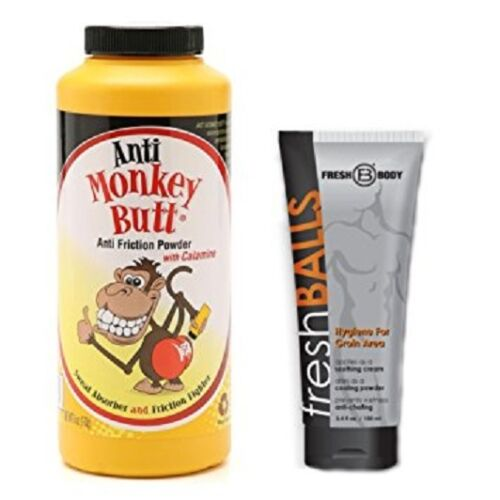 NO SWEAT BUNDLE! Anti-Monkey Butt Powder 6 oz and Fresh Balls Lotion 3.4 oz!