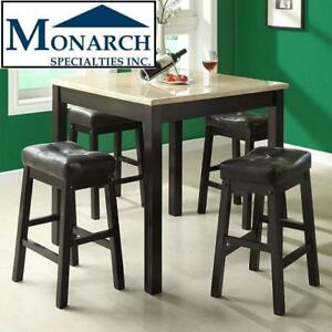 NEW* 5PC MONARCH DINING SET I1135 138620796 DINING TABLE W/ 4 STOOLS BEIGE MARBLE CAPPUCCINO