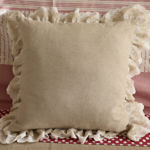 Shabby Chic Linen Pillows : Ruffled Linen Lace Cushion Pillow Cover Shabby Chic Farmhouse French Ruffle eBay
