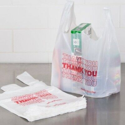 Thank You To Go Bags 11 12 X 21 X 6 White Plastic Shopping T-shirt Bags 16