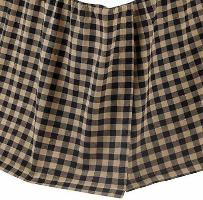 Black Check King Bed Skirt Rustic Country Cotton Gathered Dust Ruffle 16