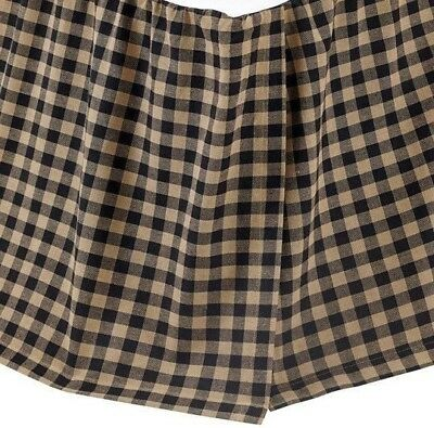 Black Check Queen Bed Skirt Rustic Country Cotton Gathered Dust Ruffle 16