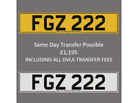 FGZ 222 – Price Includes All DVLA Fees – Cherished Personal Private Registration Number Plate