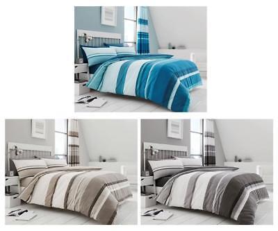 Stripe duvet cover bed sets in taupe grey brown & teal blue