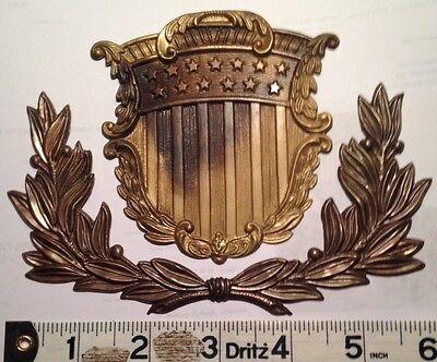 Civil War, U.S. Marine Corps Infantry Dress Shako Hat Shield Plate & Wreath