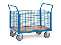 Cage Platform Trolley - A Fetra 4 Sided Mesh Platform Truck - Model 1552 in Blue - Quality Brand New