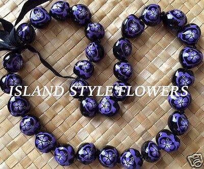 Hawaii Wedding PURPLE Kukui Nut Lei Graduation Luau  Necklace Hibiscus Turtle