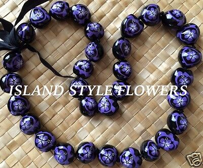 Kukui Nut Lei Necklace - Hawaii Wedding PURPLE Kukui Nut Lei Graduation Luau  Necklace Hibiscus Turtle