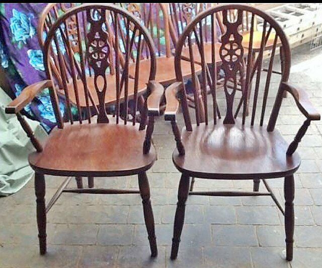 Solid Oak Windsor Chairs ~ Antique windsor heavy solid oak wheel back chair set or