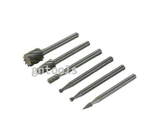 "6Pc HSS Router Cutter Bit Burrs Tools Suit 1/8"" Cleco Fit Most Rotary Drill 7038"
