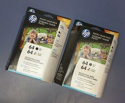 Lot of 2 New Genuine HP 64 Black & Tri - Color Ink Photo Paper Value Pack Tri Colour Photo