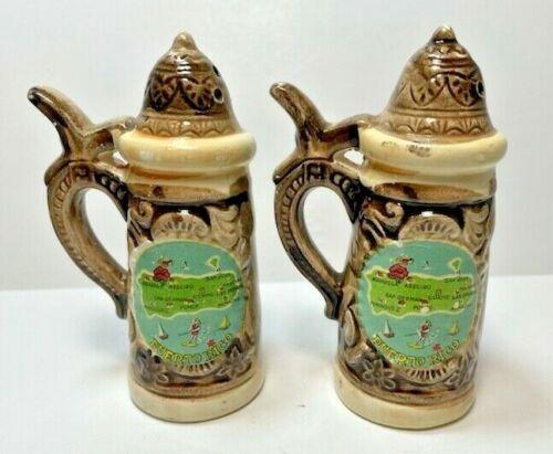 Vintage Puerto Rico Beer Stein Ceramic Salt Pepper Shakers