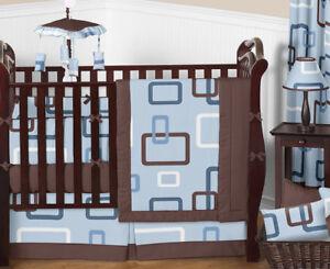 blue brown 9pc baby boy crib bedding comforter set room collection