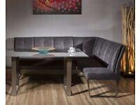 Luxury 8 seater Grey Suede Corner LH-Bench - NEW