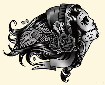 Bügelbild Applikation Sugar Skull Girl Butterfly alle Stoffe (Sugar Skull Girl)