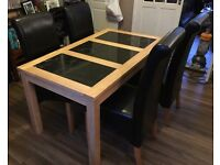 Light Oak & Granite Dining room table, 4 chairs and sideboard